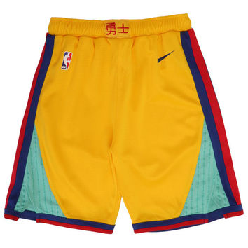 Youth Golden State Warriors Nike Gold City Edition Swingman Shorts