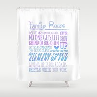 our family rules  Shower Curtain by studiomarshallarts