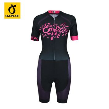Women Short Sleeve Cycling Jersey One-pieces Triathlon Quick Dry Custom Cycling Skinsuit Swimming Clothing Ropa Ciclismo