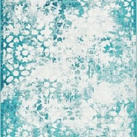 2051 Turquoise Distressed Contemporary Area Rugs