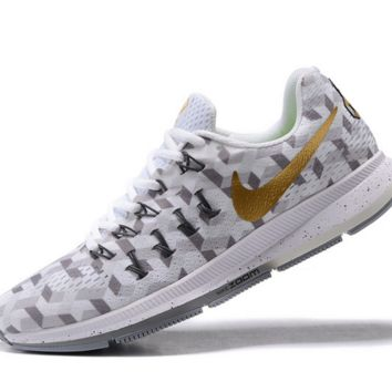 NIKE fashion casual breathable running shoes White gold
