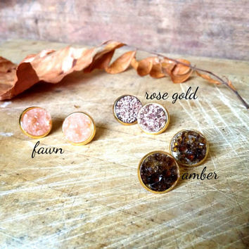 Fall Druzy studs. Amber. Fawn. Rose Gold.