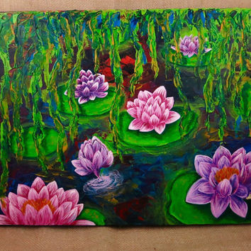 16x20 Acrylic Water Lily Painting On Canvas