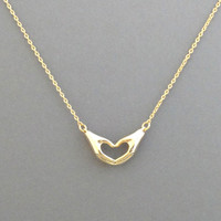 Gold, Hands, Heart, Sign, Necklace, Hand, Heart, Love, Necklace, Unique, Lovely, Love sign, Birthday, Lovers, Friends, Gift, Jewelry