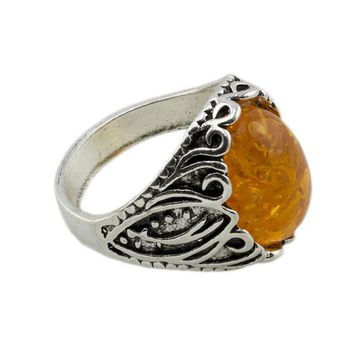 Silver Plated Vintage Oval Stone Ring for Women