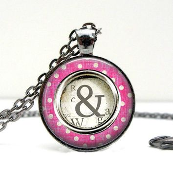 Ampersand Pendant Necklace - Pink Polka Dots & Gold Typography