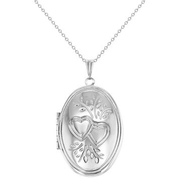 Silver Tone Oval Double Heart Photo Locket Pendant Necklace Womens 19""