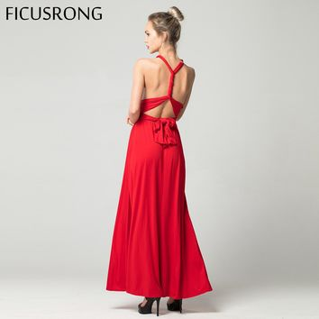 FICUSRONG Sexy Long Dress Bridesmaid Formal Multi Way Wrap Convertible Infinity Maxi Dress Red Hollow Out Party Bandage Vestidos