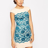 Hybrid Shift Dress with Lace Panel