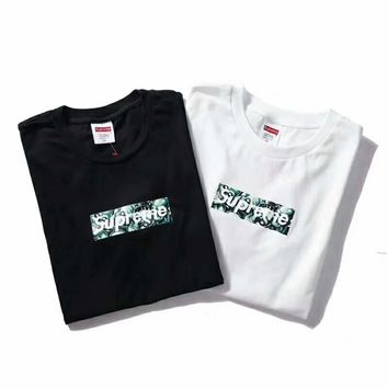 Supreme & Vans Summer fashion new bust letter bone head print and back letter print couple short sleeve t-shirt top two color