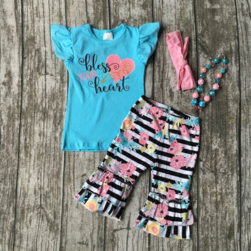 Baby girls summer clothing girls bless your heart clothing children stripe with floral ruffle capri outfits with accessories