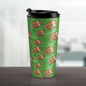 Green Football Travel Mug - Sports Pattern with Footballs over Green - 15oz Stainless Steel - Made to Order