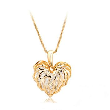 Gold hollow love leaves sweater chain built glittering rhinestone ornaments in Europe and America long necklace synthetic zircon