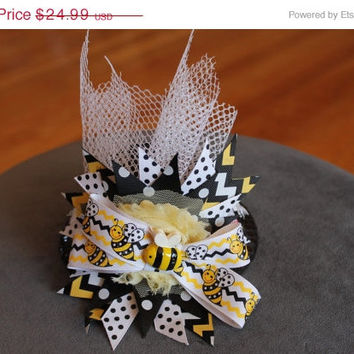 SALE Bumblebee Birthday hat, huge spike bow with bee in center,honeycomb netting,daisies and pink posies encircle the black sequin mini top
