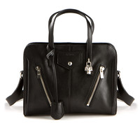 ALEXANDER MCQUEEN SMALL PADLOCK BLACK TEXTURED LEATHER BAG