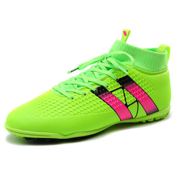 New Soccer Football Shoes With Ankle Boots Green/Black/Orange Soccer Cleats High Ankle Mens Turf Cleats Artificial Turf Soccer