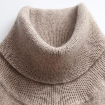 GABERLY Soft Cashmere Elastic Sweaters and Pullovers for Women Winter Turtleneck Female Wool Knitted Brand Sweater