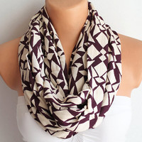 Infinity Scarf Loop Scarf Circle Scarf Cowl Scarf Brugundy and Ivory Chevron Print