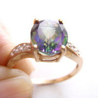 Mystic Topaz Ring, 3ct Fire Topaz, 10k Gold Diamond Ring, 6 Diamonds, Ladies Fine Jewelry, Gift for Her, Vintage Fine Jewelry