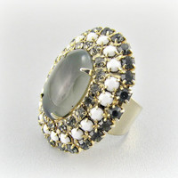 Vintage Cocktail Ring, Black White Gray Rhinestone Ring, Extra Large Ring, Gold Adjustable Ring, 1960s Mad Men Costume Jewelry