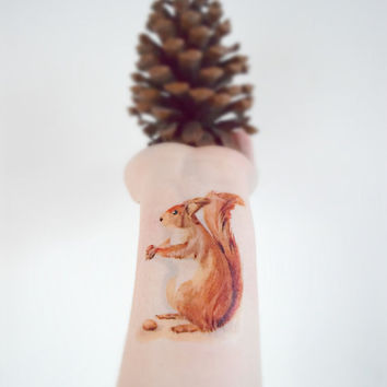 Squirl temporary tattoo - Unique, Tattoo, Woodland, Ink, Forest animal, Acorn, Summer