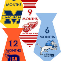 INSTANT DOWNLOAD-4 University Sports Detroit Tigers Lions Red Wings Michigan Baby Boy Monthly Milestone Onesuit Stickers Newborn Shower Gift