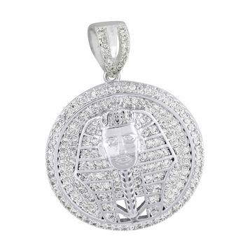 Egyptian Pharaoh Round Pendant Iced Out Lab Diamonds Charm White Rhodium