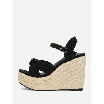 Suede Espadrille Platform Wedge Sandals