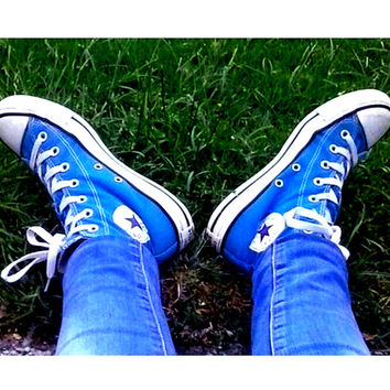 Converse All Star Sneakers canvas shoes for Unisex sports shoes High-top Sapphire blue