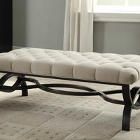 Marlena collection espresso finish wood base with natural linen like fabric upholstered bedroom bench