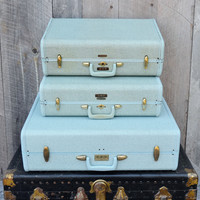 Medium Samsonite Suitcase Vintage Luggage Hawaiin Blue Aqua Shwayder Bros Travel Storage Wedding Photo Prop