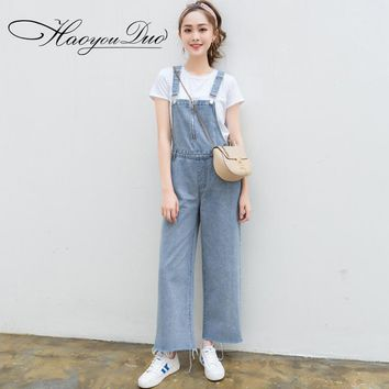 HAOYOUDUO Leisure Loose Denim Jumpsuits Overalls Womens Jeans Jumpsuits For Women 2017 Summer Wide Leg Jumpsuit Female