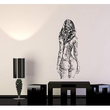 Wall Decal Girl Nature Flowers Plant Life Human Exposure Beauty Vinyl Sticker Unique Gift (ed653)