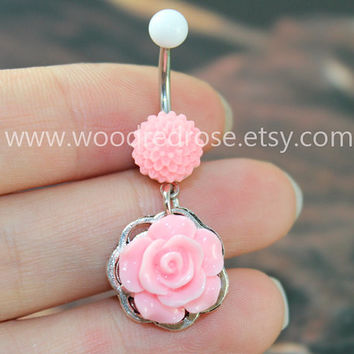 Flower Belly Button Ring ,Pink Flower Belly Ring ,Flower Bellybutton Ring, Personalized Jewelry Belly Button Ring, Belly Button Piercing