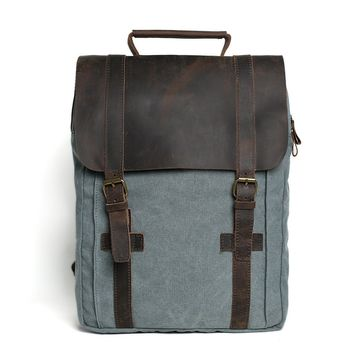 BLUESEBE UNISEX WAXED CANVAS WITH LEATHER BACKPACK 1820-B