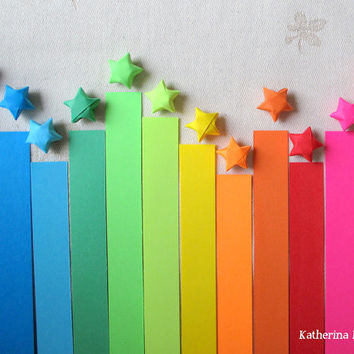500 Origami Stars Paper Strips, Rainbow Multicolor Lucky Stars