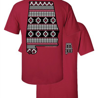 Southern Couture Alabama Aztec State Pattern Faux Pocket Red Girlie Bright T Shirt