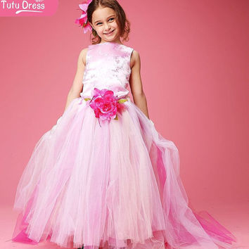 Inspired by Disney Princess Sleeping Beauty Handmade tutu Dress – Pink Floor Length Puffy Dress in age 5 6 7 8