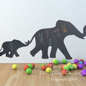 Mom and Baby Elephant Chalkboard Vinyl Wall Decal Sticker