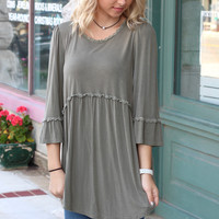Back Zip Acid Wash Tunic {Olive}