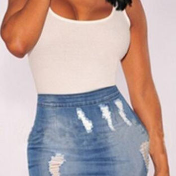Denim Blue Skinny Zipper Short Hole Skirt