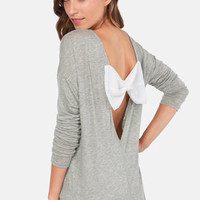 The Bow Monde Long Sleeve Grey Top