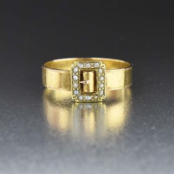 Vintage Seed Pearl Gold Buckle Ring 19th Century