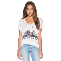 White V-neck New York City Girl Print Graphic Tee