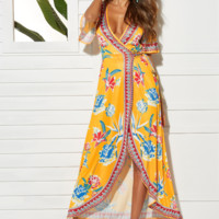 Fashionable sexy V-neck open-forked pendulum Printed Dress