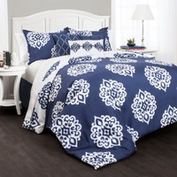 Lush Decor 7 Piece Sophie Comforter Set, King, Navy