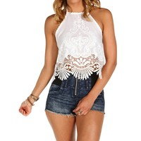 White Embroidered Halter Top