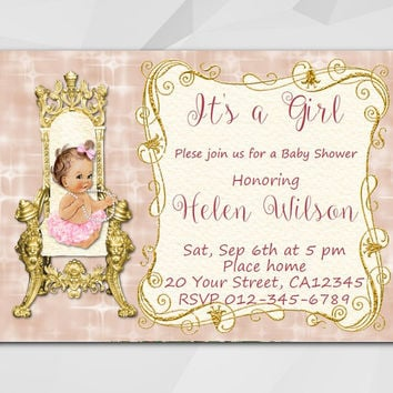 Vintage Girl Baby Shower invitation, Editable PDF, Instant Download. Baby Doll on the Royal Throne.