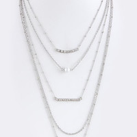 Crytal Pave Pendant 5 Layer Necklace