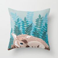 dozy deer Throw Pillow by Polkip